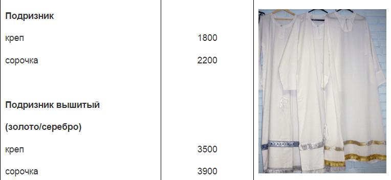 Одежда для богослужения в подарок батюшке