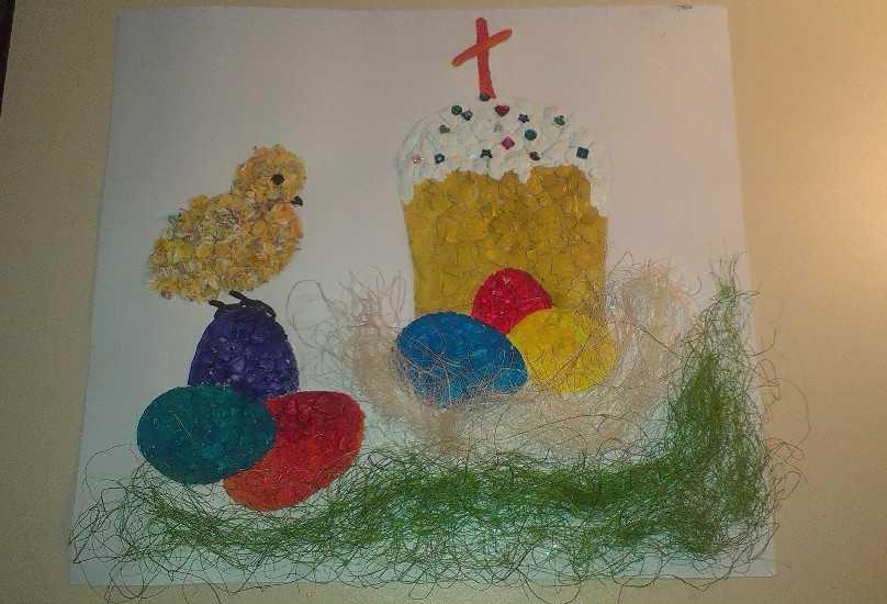 Картина из яичной скорлупы 6