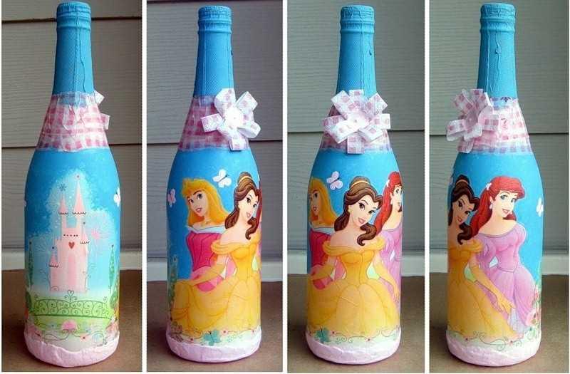 Украшение бутылки сказка