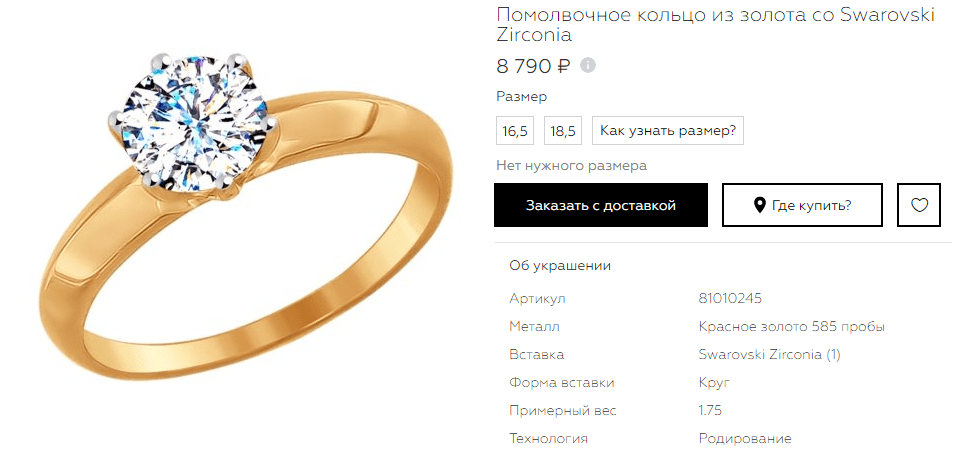 Кольцо Swarovski