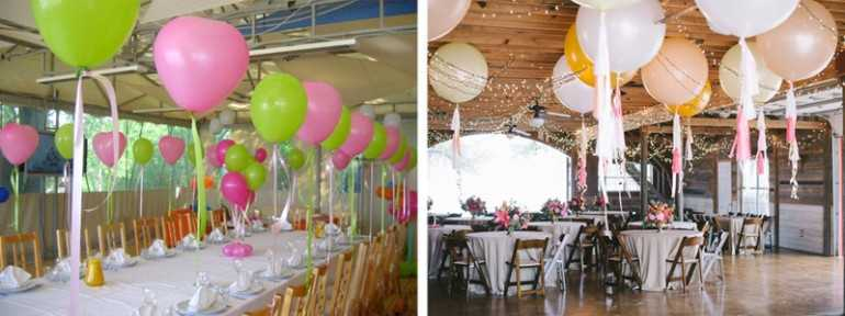 Украшение стола воздушными шариками