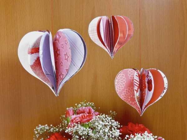 Объемное сердце из бумаги на День святого Валентина