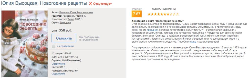 Новогодние рецепты. Автор книги: Юлия Высоцкая