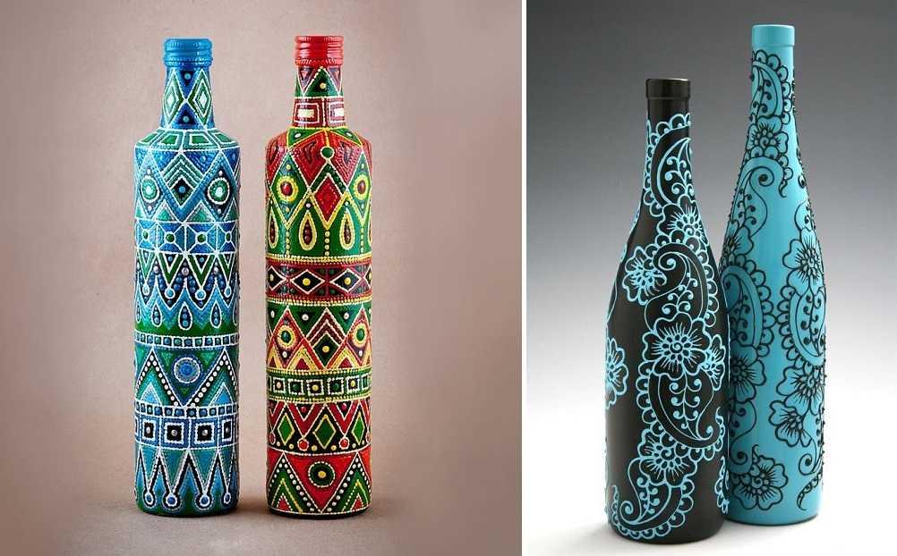 Украшение бутылки точечная роспись