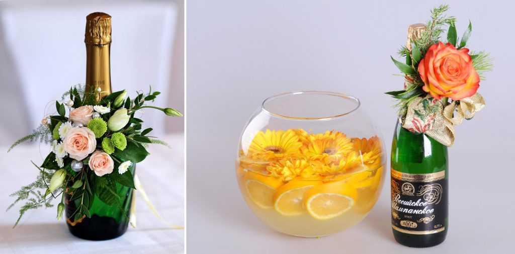 Украшение бутылки живыми цветами